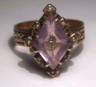 Antique Victorian 14K Solid Gold  Rose Of Sharon Amethyst Diamond Pearl Ring S7