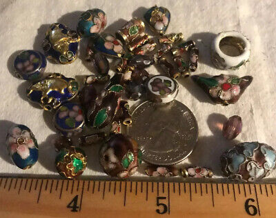Beads- Oriental Enamel Cloisonné Gold Bead Assortment Of 32