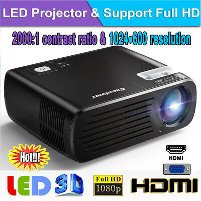 7000 lumens Outdoor LED 1080P Video Projector Home Theater Cinema HDMI USB AV AU