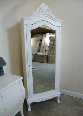 French Style Single Armoire Wardrobe In White - Shabby Chic Single Wardrobe