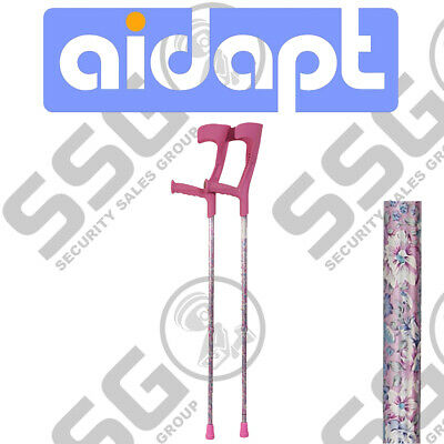 Aidapt Deluxe Patterned Forearm Crutches (Pair) Pink Design