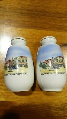 Palmerin St Warwick Qld Souvenirware Salt/Pepper Shakers- 1950s-Made in Germany