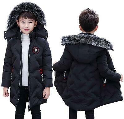 Kids Stylish Faux Fur Trim Hooded Long Quilted Padded Boys Winter Coat - Black