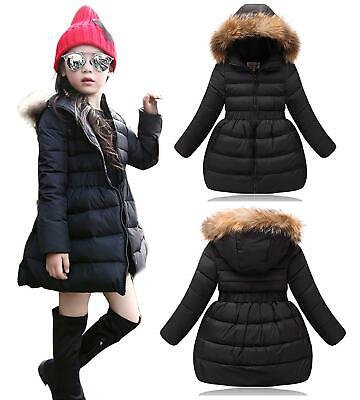 Kids Quilted Padded Girls Long Parka Coat With Faux Fur Trim Hood - Black