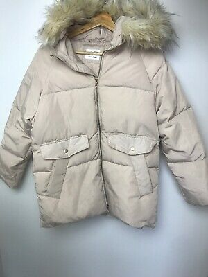 Lovely Zara Girls Padded Jacket With Faux Fur Trimmed Hood.age 13/14