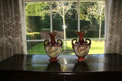 COUNTRY HOUSE SALE Large Antique Pair China Urns,Pheasant,Game,Pots,Vase,Vintage