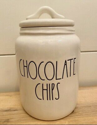 """Rae Dunn By Magenta Artisan CHOCOLATE CHIPS Baby Canister Large Letter LL 7"""" NEW"""