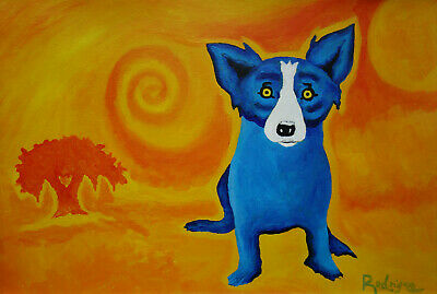 Exceptional POP ART Unique Dog Painting, signed & stamped,