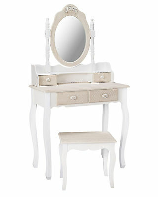 Louis White Painted Dressing Table Set - French Style Vanity Unit / Shabby Chic