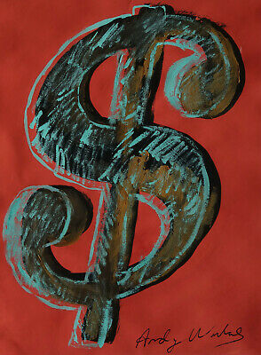 Exceptional POP ART Unique Painting, signed & stamped, Warhol – Dollar sign