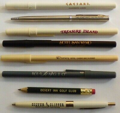 LOT of 8 LAS VEGAS Casino PENS - Dunes, Silver Slipper, Bellagio, Venetian, TI