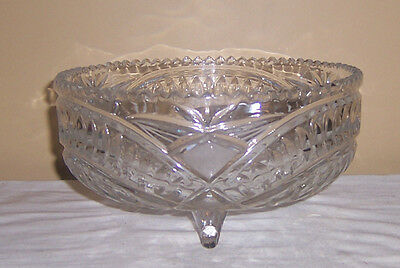 ~~ Cut Glass Crystal  ~~ 3 Footed Cut Glass Crystal  Fruit Or Centerpiece Bowl