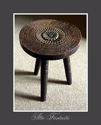 Beautiful Hand Carved Three Legged Antique Wooden Oak Milking Stool France 1900