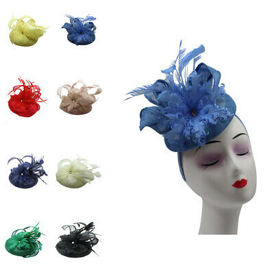 SMALL Fascinator Wedding Hat Sinamay Flower Feathers Disc Royal Ascot Race Round