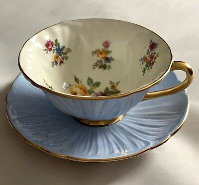 Vintage Shelley China Cup & Saucer - Blue Oleander Pattern Flowers Inside Cup
