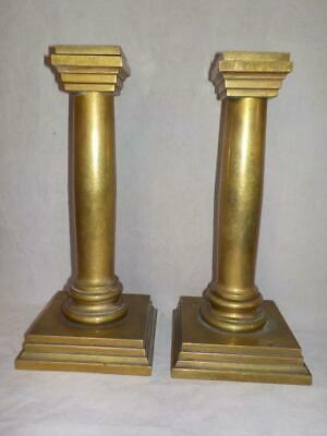 RARE PAIR OF CHELSEA CLOCK CO. HEAVY BRASS CLOCK GARNITURE CANDLESTICKS c.1920's