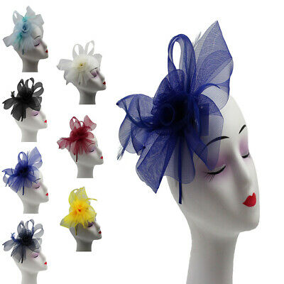 SMALL Fascinator Feathers & Synthetic Flower Wedding Hat Royal Ascot Mesh Style
