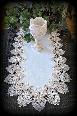 "Dresser Scarf Lace Table Runner 35""x16""  Doily Neutral Beige Tan Antique White"