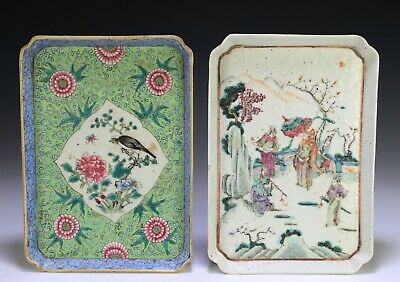 Two Antique Chinese Hand Painted Porcelain Trays with Birds and Figures