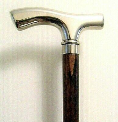 "Silver Chrome Wood Walking Stick Mobility Cane Brown Wooden Shaft Stick 36"" Cane"
