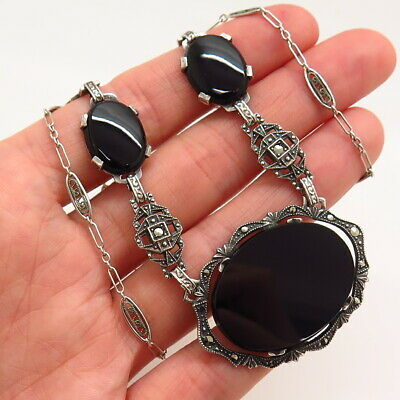 Antique Art Deco 925 Sterling Silver Black Onyx & Marcasite Gem Chain Necklace