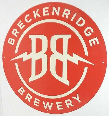 "BRECKENRIDGE BREWERY TIN SIGN 14"" EMBOSSED metal COLORADO BEER bar pub man cave"