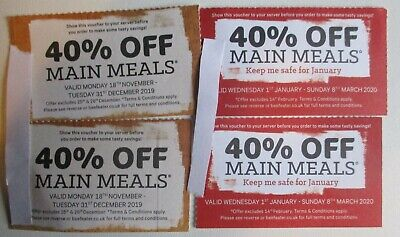 4 x Beefeater 40% off Main meal vouchers.Minimum 2 people. Valid till 31/3 20