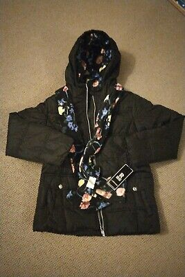 New R88 S. Rothschild Girls Puffer Hooded Coat Black Size M Age 10-12 WithScarf