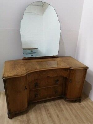 Beautiful Vintage Burr Walnut Art Deco Kneehole Dressing Table