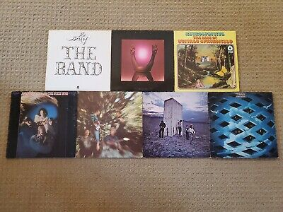 Lot of 7 Classic Rock vinyl record albums The Band Buffalo Springfield CCR Who