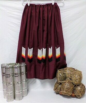 Native American Traditional Seminole Women's Patchwork Maroon Skirt Sz Med