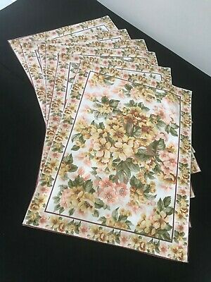 6 DESIGNER APRIL CORNELL 100% Cotton Fabric Floral Placemats  Pink Green Yellow