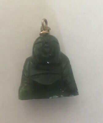 Vintage Green Jade 3D Carved Buddha Character Goldtone Pendant Necklace
