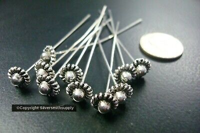 Antique Silver plated flower designer jewelry head pins 10pcs 2 inch 50mm FHG022