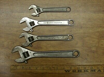 "4 Vintage Utica Adjustable Wrenches,91-10"",{2} 91-8"",& {1} 91-6"",Overall VG Cond"