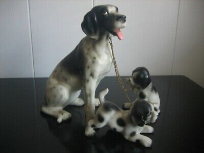 Vintage Spaniel Mother Dog 2 Chained Puppies Lipper & Mann Japan Figurines
