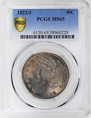 1822/1 Capped Bust 50C Pcgs Ms 65