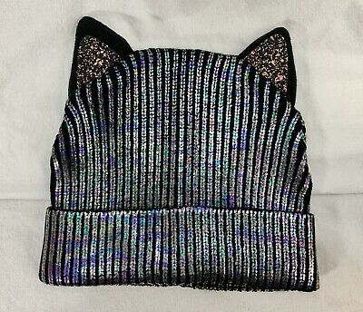 CAT EARS SPARKLE BLACK Irridescent BEANIE Girls One Size Winter Hat NEW MIP