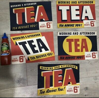 Original Paper Tea Signs Set Of 5