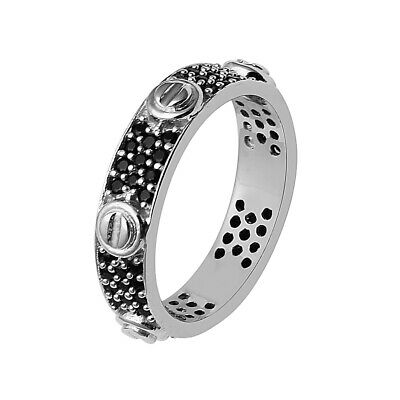 925 Sterling Silver Black Spinel Rolling Triple Band Crossover Ring Triple Raw