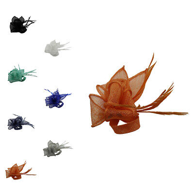 Small Fascinator Sinamay Flower Feather Hat Brooch Pin Clip Wedding Ascot Races