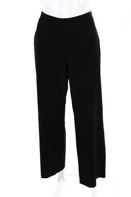 Calvin Klein Collection Womens Wide Leg Trousers Dress Pants Black Wool Size 8