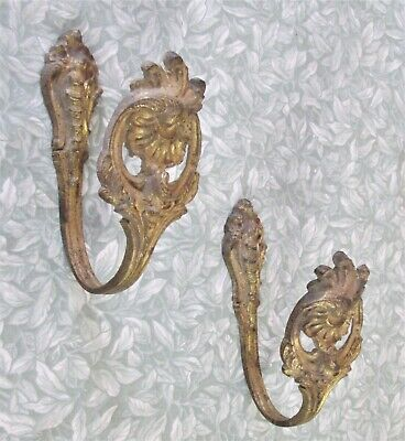 Antique French Gilt Bronze PAIR CURTAIN HOLD BACKS 19th Century Stamped Tiebacks