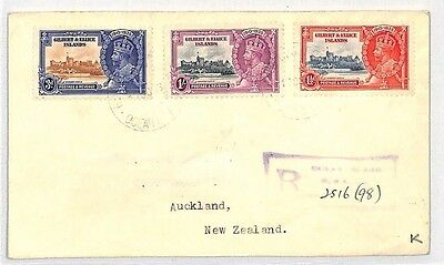 GILBERT & ELLICE ISLANDS Cover 1935 SILVER JUBILEE Set KGV {samwells-covers}BH14
