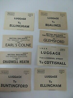 GER & BR assorted luggage labels x 8  incl. Earls Colne, Glemsford