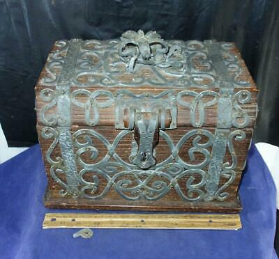 Antique Intricately Lead Decorated Treasure Chest Jewelry Box Crown on Top !!
