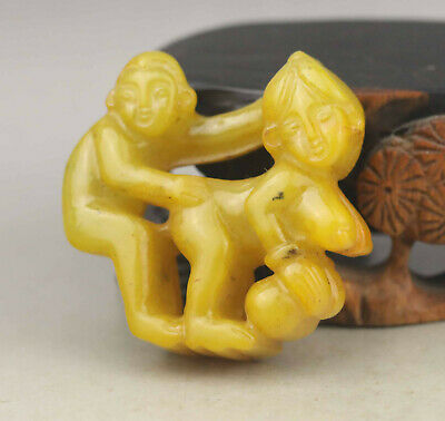 Old Chinese natural jade hand-carved statue of man and woman pendant