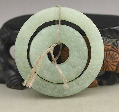 Old Chinese natural jade hand-carved double circle pendant