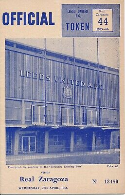 FAIRS CUP SEMI FINAL 1966 Leeds United v Real Zaragoza - dated 27.04