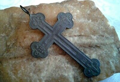 ANTIQUE c.19th CENTURY LARGE RUSSIAN ORTHODOX CROSS with IIC XC CHRISTOGRAM